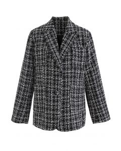 Patched Pockets Tweed Check Blazer in Black