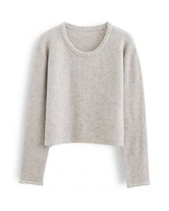 Shiny Pearly Round Neck Fluffy Knit Sweater in Taupe