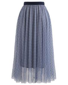 Metallic Thread Double-Layered Tulle Mesh Skirt in Blue