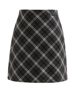 Stylish Plaid Wool-Blend Mini Skirt in Smoke