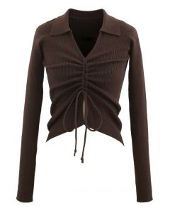 Drawstring Collared Fitted Knit Top in Brown