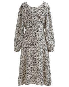 Dots Print Scoop Neck Sleeves Midi Dress in Ivory