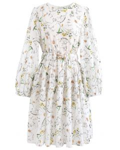 Wild Flowers Printed Texture Cotton Dress