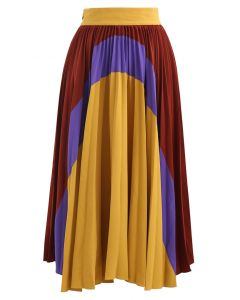 Passionate Color Blocked Pleated Midi Skirt