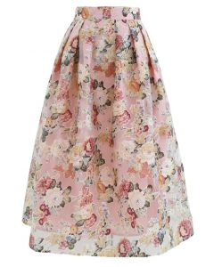 Blooming Flowers Printed Organza Midi Skirt