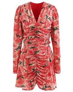 Ruched Red Floral V-Neck Mini Dress