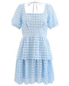 Full of Heart Crochet Square Neck Dress in Blue