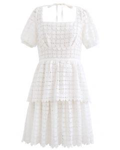 Full of Heart Crochet Square Neck Dress in White