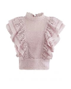 Tiered Ruffle Crochet Mock Neck Sleeveless Top in Pink