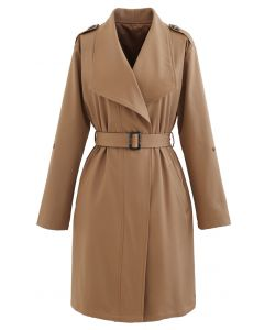 Belted Pocket Drape Neck Coat in Tan