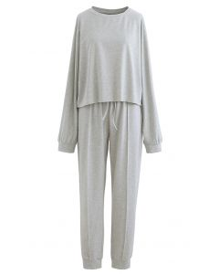 Raw-Cut Hem Sweatshirt and Seamed Pants Set in Grey
