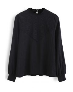 Crochet Panelled Puff Sleeves Smock Top in Black
