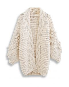 Hand-Knit Pom-Pom Braid Chunky Knit Cardigan