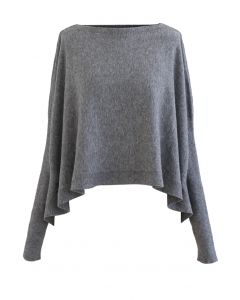 Soft Flare Hem Cape Sweater in Grey