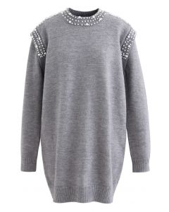 Pearl Decoration Longline Sweater in Grey