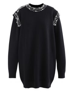 Pearl Decoration Longline Sweater in Black