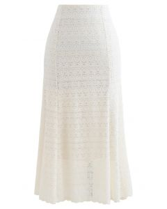Floret Zigzag Lace Frill Hem Skirt in Cream