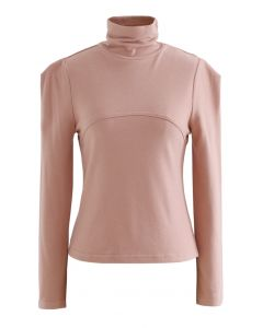 Seamed Front Turtleneck Top in Pink