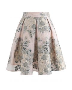Golden Camellia Jacquard Embossed Pleated Mini Skirt