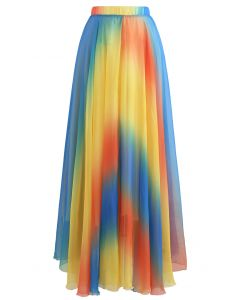 Tie Dye Chiffon Maxi Skirt in Yellow