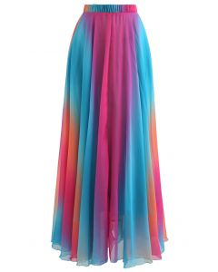 Tie Dye Chiffon Maxi Skirt in Blue