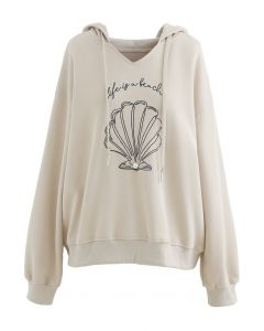 Scallop Embroidered Pearl Trim Hoodie in Sand