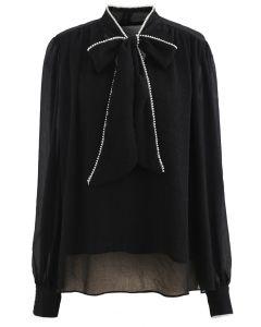 Bowknot Pearl Trim Semi-Sheer Shirt in Black