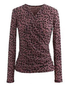 Velvet Leopard Dot Wrapped Top