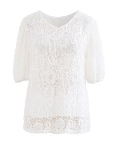 Short-Sleeve 3D Floral Lace Top in White