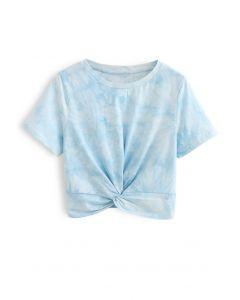 Twist Hem Tie Dye Crop Top in Sky Blue