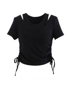 Fake Two-Piece Drawstring Crop Top in Black