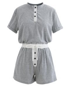 Button Drawstring Crop Top and Shorts Set in Grey