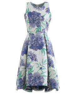 藍色大麗花提花無袖禮裙