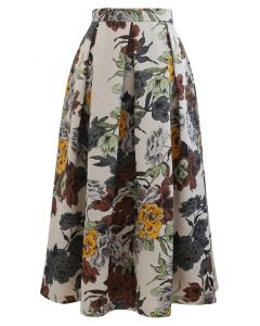Retro Floral Print Pleated Midi Skirt