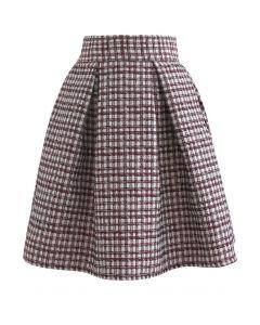 浮雕格子短裙--酒紅色