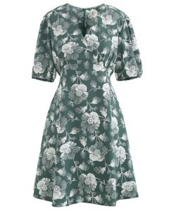 Dark Green Flower Tie Waist Wrap Dress