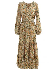 Ditsy Floral Frilling Wrap Dress
