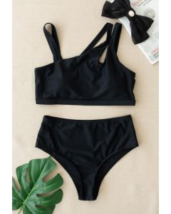 Triple Straps Black Bikini Set