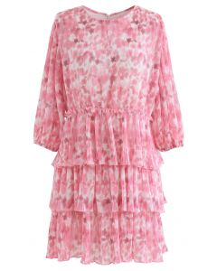 Pleated Tie-Dye Tiered Dolly Dress in Pink