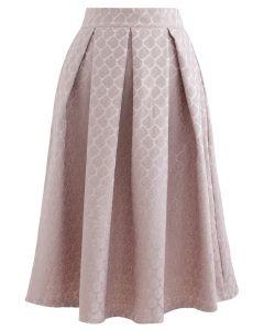 Embossed Rose Pleated Midi Skirt in Dusty Pink