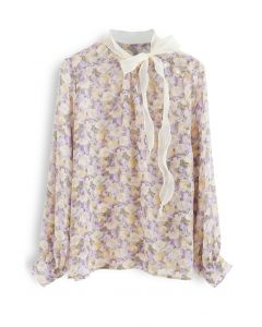 Rosebud Bowknot Glittery Semi-Sheer Top in Purple