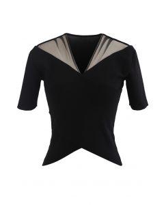 Cross Front Mesh Shoulder Knit Top in Black