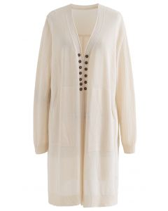 Lightsome Button Slit Hem Longline Cardigan in Cream