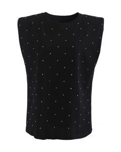 Flickering Padded Shoulder Sleeveless Top in Black