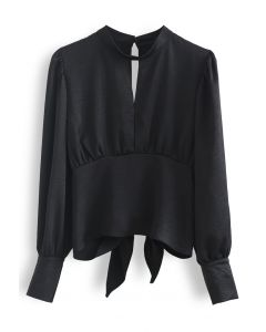 Knotted Cutout Back Puff Sleeves Crop Top in Black