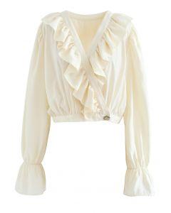 Buttoned Wrap Ruffle Crop Top in Cream