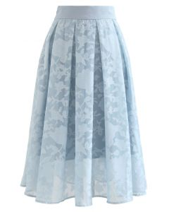 Flower Shadow Organza Pleated Skirt in Blue