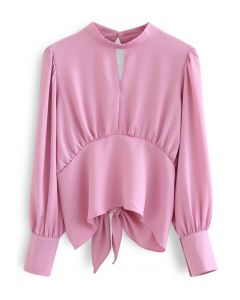 Knotted Cutout Back Puff Sleeves Crop Top in Pink