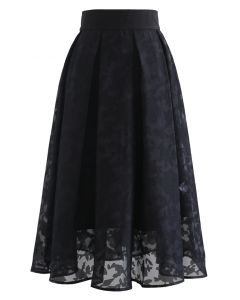 Flower Shadow Organza Pleated Skirt in Black