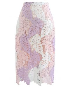 葉子狀編織鉛筆裙--粉色